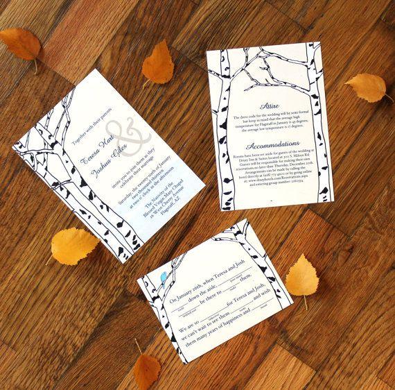 Aspen Trees Winter Wedding Invitation by ThreeHartsVintage on Etsy, $4.00