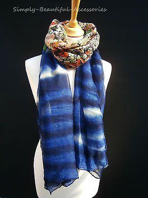 Vintage Pashmina Scarf Wrap Floral Stripe Royal Blue New Seasons Arrivals