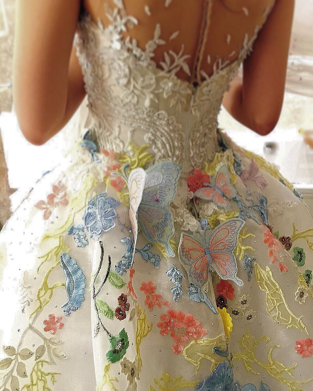 Butterfly Wedding Gown: Special Butterfly Design And Multi Colour Lace At The Edge