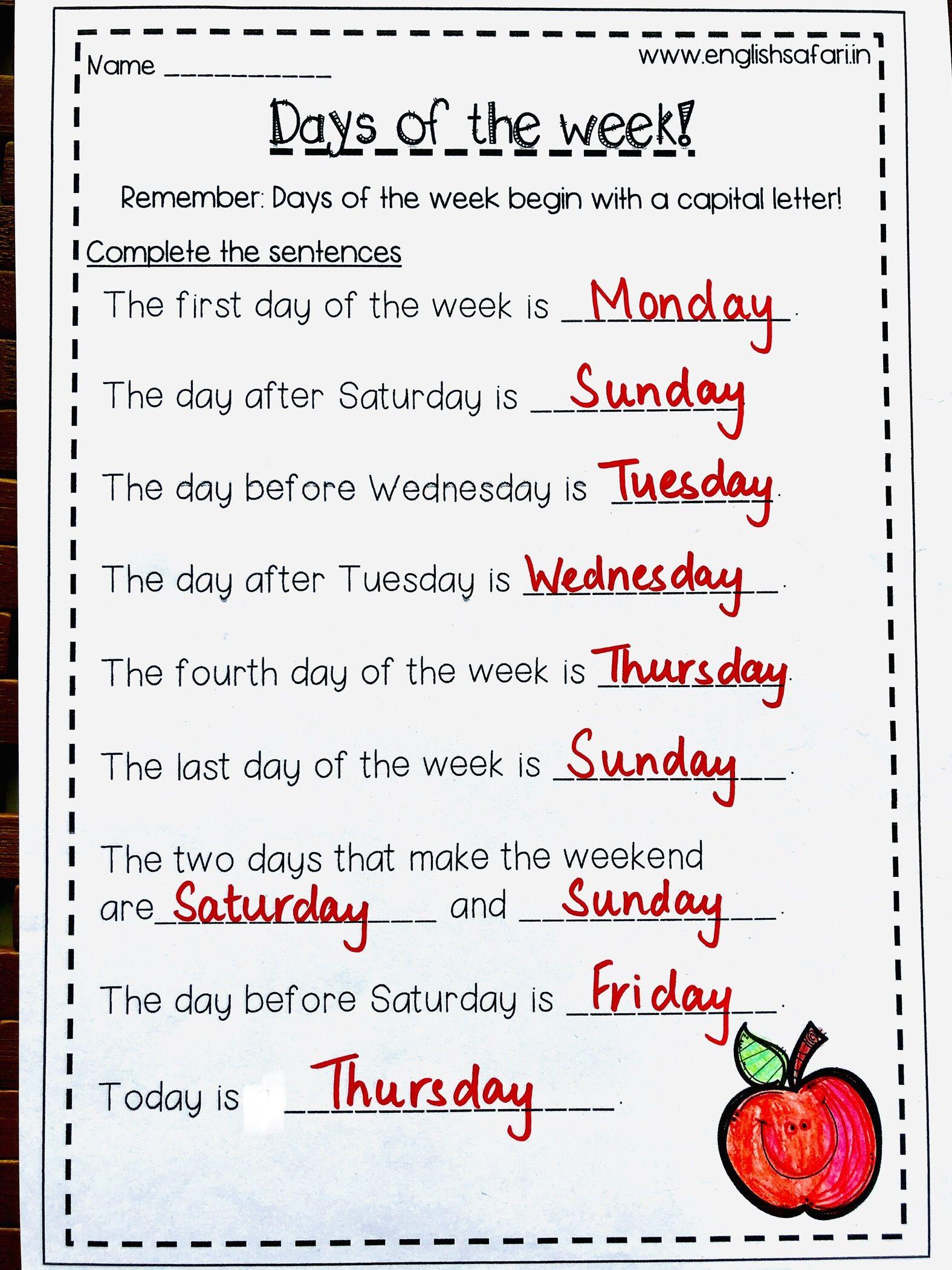 Free Days Of The Week Worksheet In