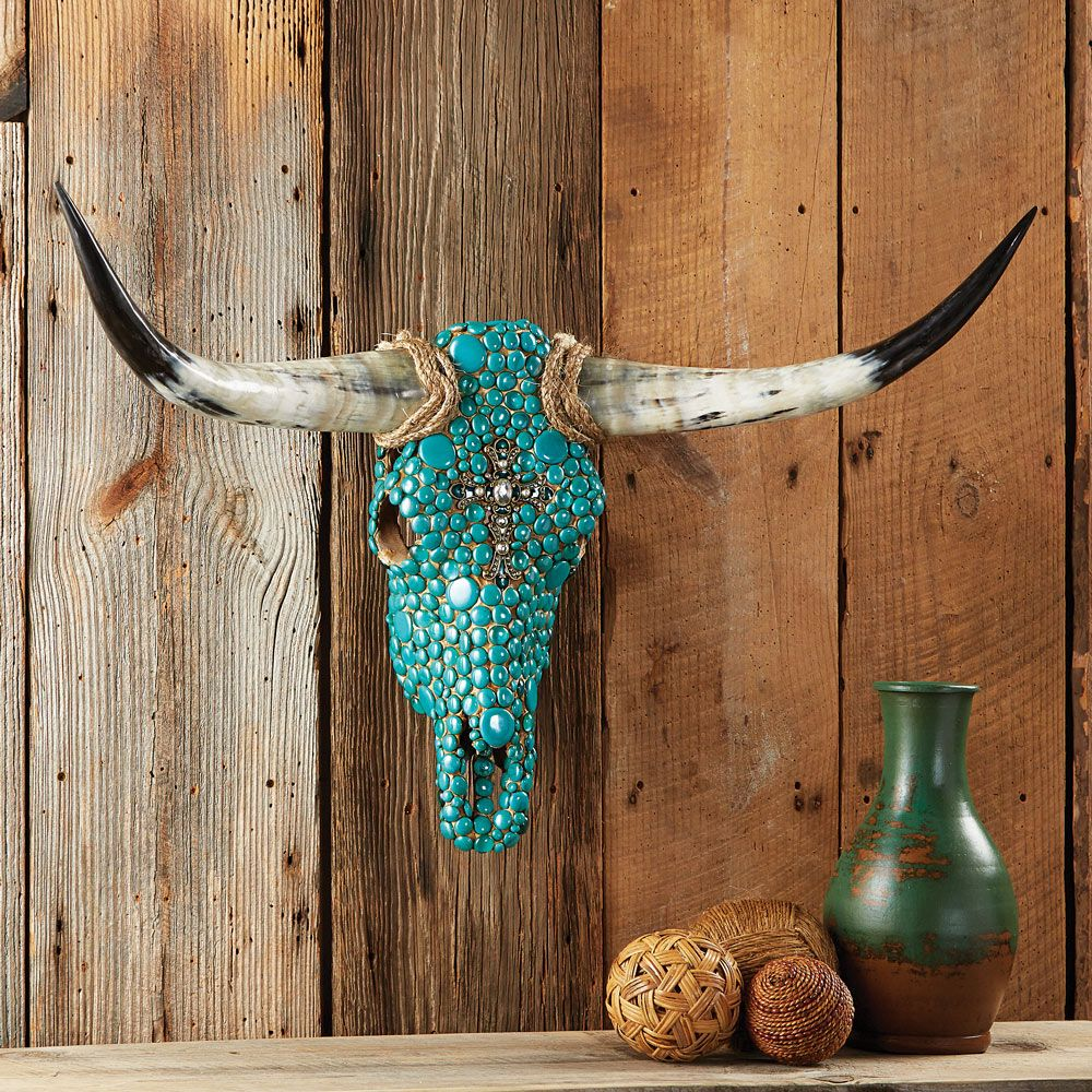Turquoise Stone Steer Skull  Cow skull art, Skull decor diy, Cow