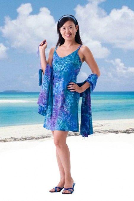 ce05904cb9b5 Tropical Elegance Short Slip Dress at Tropical Tantrum. Cute for vacations,  summer, beach weddings, resort wear.