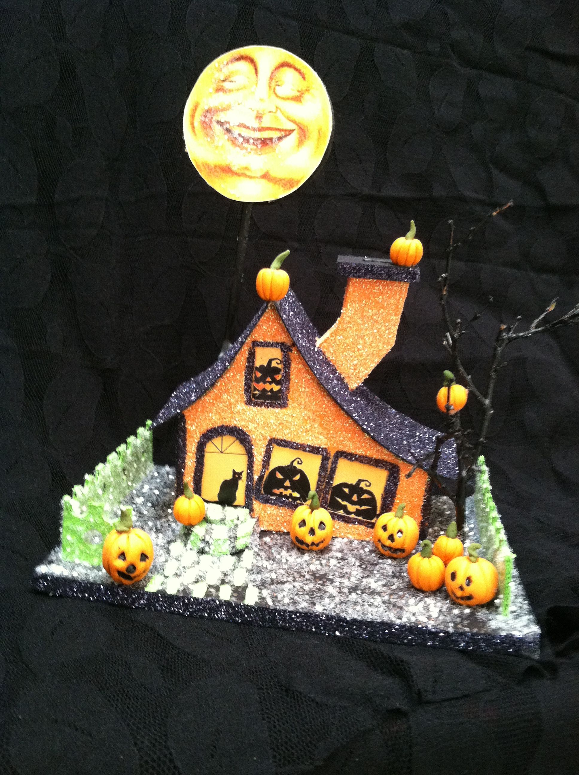 I made this Halloween glitter house called \ - halloween houses decorated