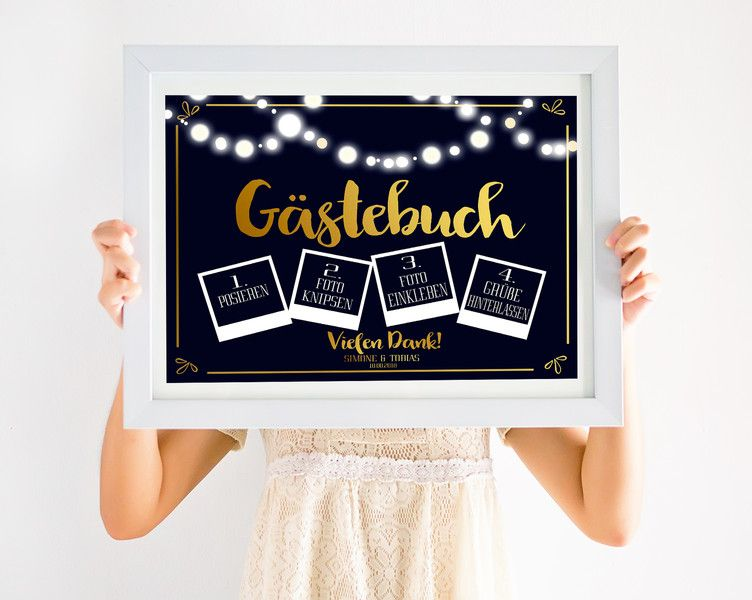 Hochzeitsdeko - Gästebuch Schild Hochzeit Polaroid - ein ...