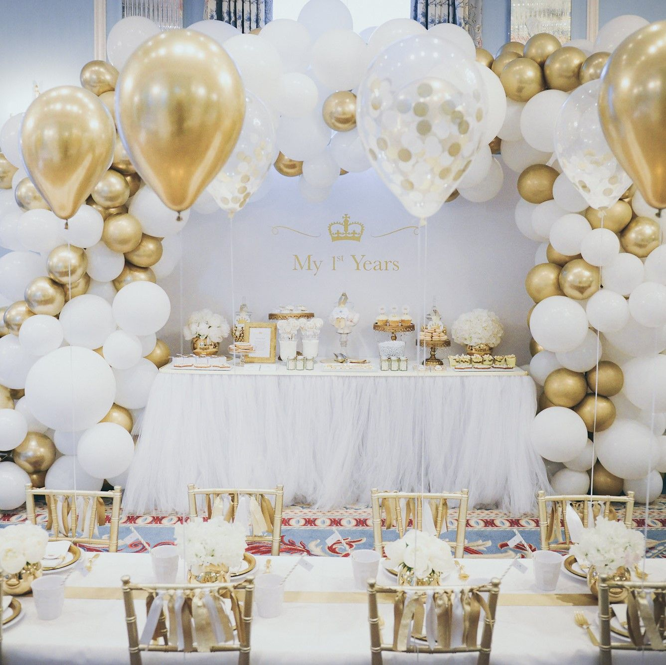 Balloon Arch Gold And White Theme