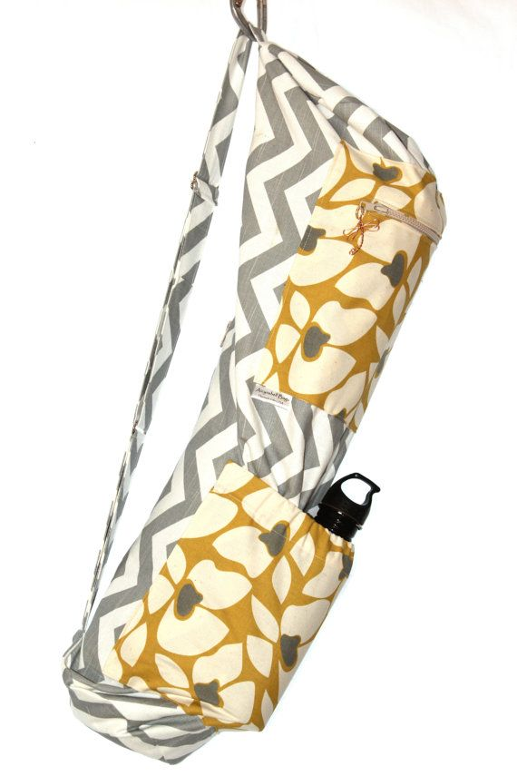 Aimee Yoga Mat Bag in Grey and white chevron with mustard flowers ...