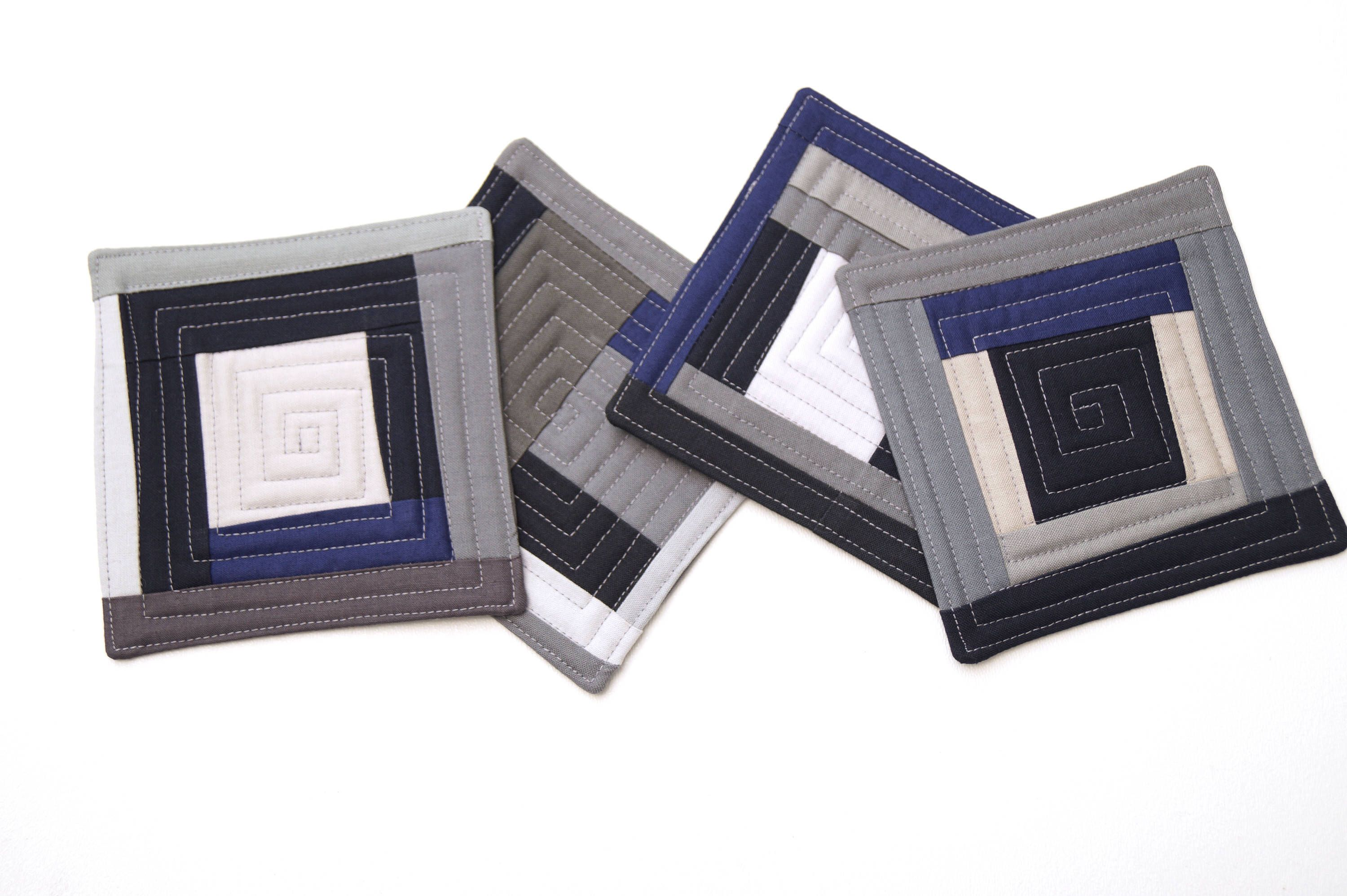Modern Cloth Drink Ware Set of Four Quilted Fabric Coasters in Blue Abstract Patchwork