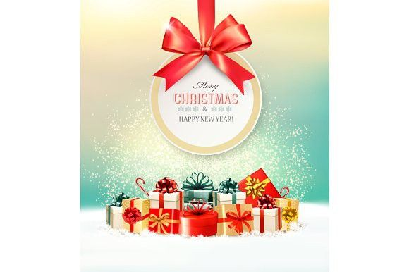 Christmas Presents With A Gift Card Voucher Design Templates 400