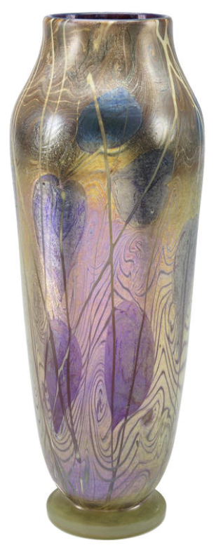 A Tiffany Studios Decorated Favrile Glass Vase Circa 1901
