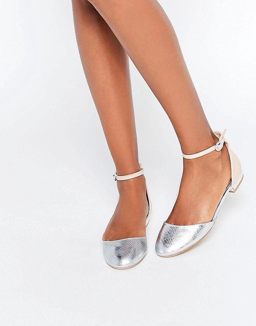 Image 1 of Miss KG Mindy Nude & Silver Mix Embellished Heel Flat Shoes