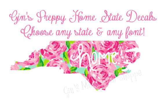 Home State Patterned decals choose any size font and pattern Lilly Pulitzer, Chevron, Dots, and More!
