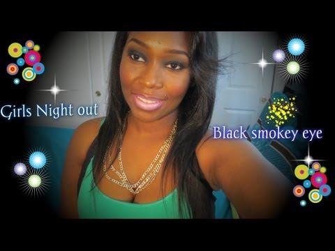 Girls Night out Black smokey eye + Purple lips