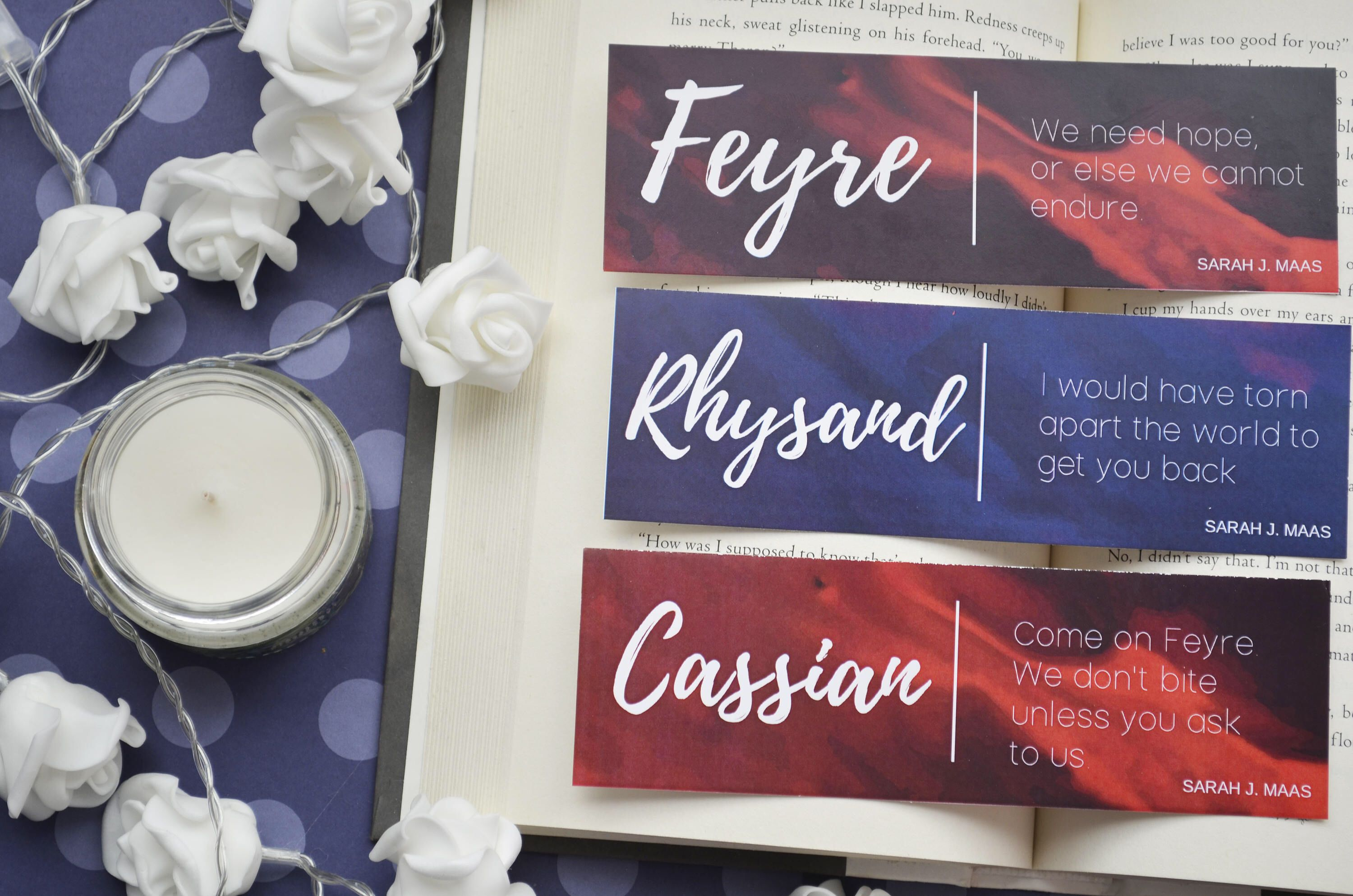 Feyre Rhysand Cassian A Court Of Thorns And Roses Bookmark 6 By