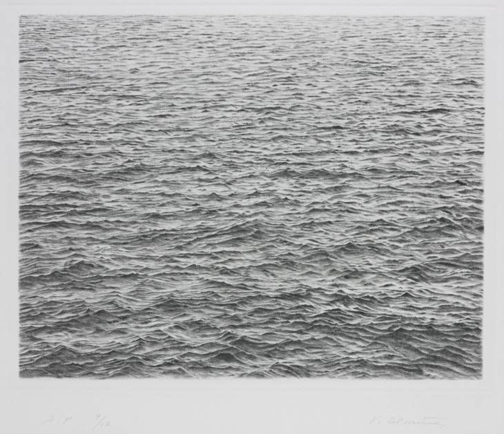 Vija Celmins  Drypoint - Ocean Surface 1983  One-colour drypoint on Arches Satine paper (first state)  image: 186 x 239 mm