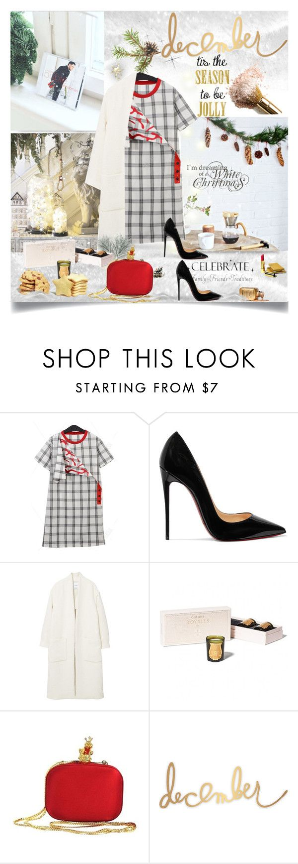 """""""Jolly December"""" by monika-jall ❤ liked on Polyvore featuring Christian Louboutin, MANGO, Cire, Moschino, Heidi Swapp and WALL"""