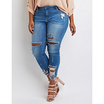 89e4cce015a Plus Size Denim Destroyed Skinny Jeans by Cello - Size