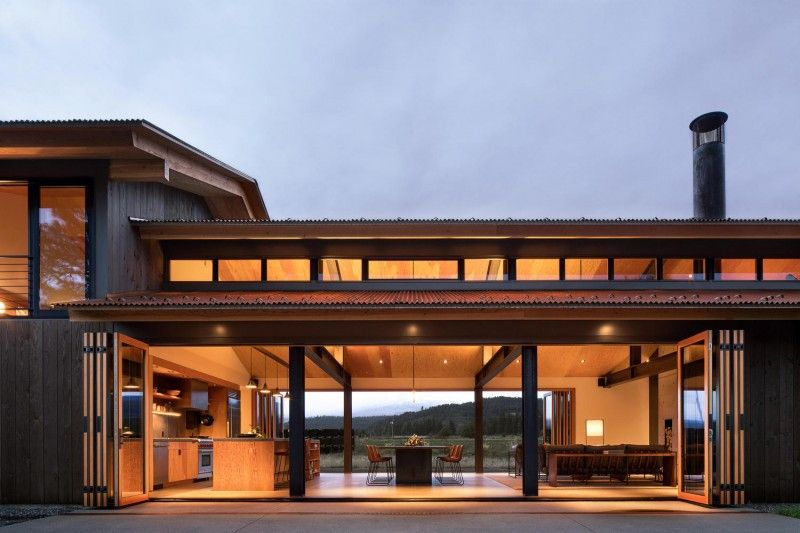 Trout lake house by olson kundig two sided fireplace