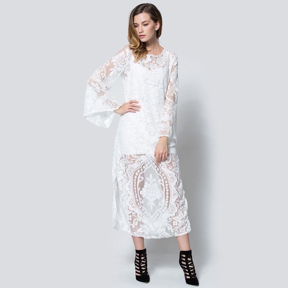 Flare sleeve sheer lace maxi dress maxi dresses cotton maxi