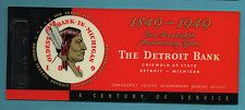 1949 THE DETROIT BANK Blotter Pack w/Celluloid (or Plastic) Cover - Exc Cond