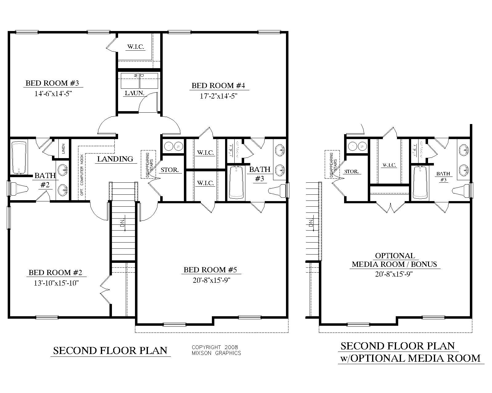 house plan 2691 a mccormick 2nd floor plan 2691 square feet 39 0 wide by 42 0 deep 5 bedrooms3 12 baths formal dining room optional hisher