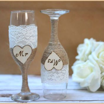 Wedding Gles Champagne Flutes Burlap Rustic Toasting