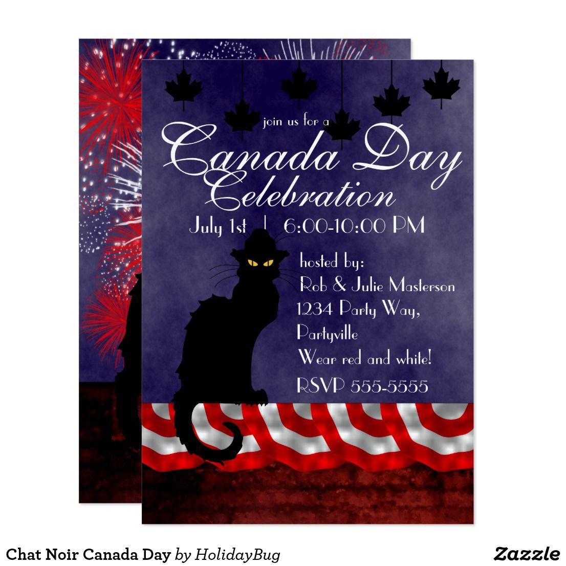 Chat Noir Canada Day Invitation Canada day