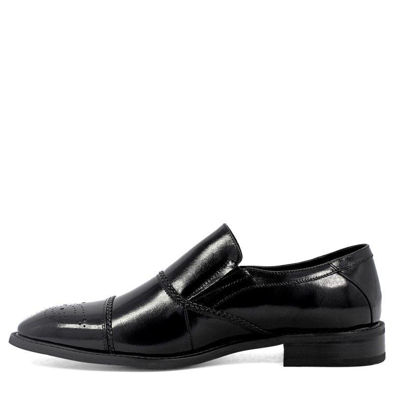 Stacy Adams Men's Brecklin Cap Toe Slip On Shoes (Black Leather) - 12.0 M