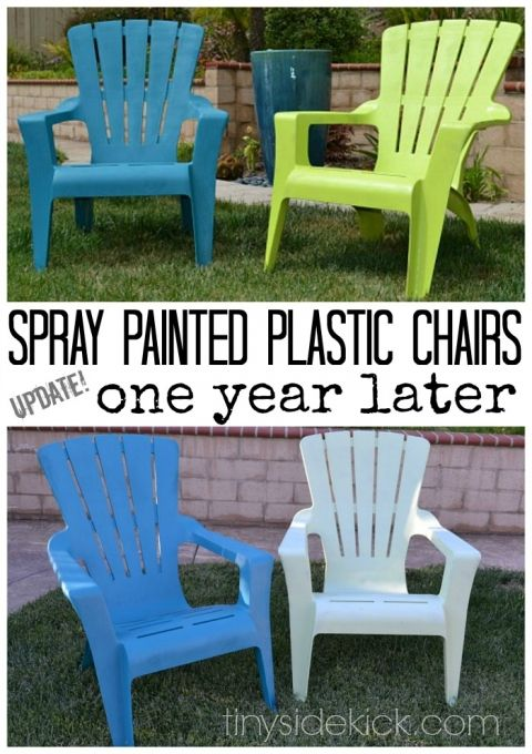 1 Year Later Spray Painted Plastic Outdoor Chairs Great