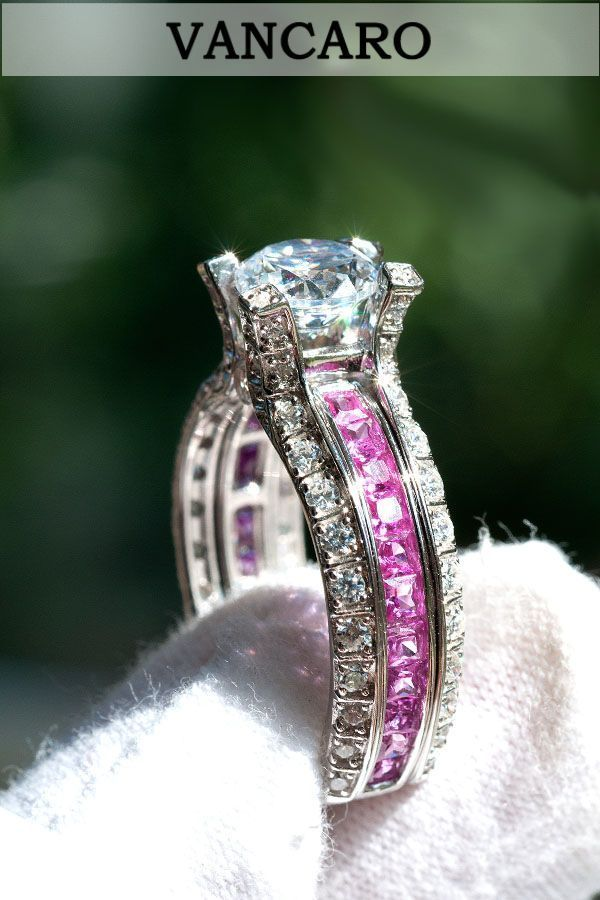 61e4e2beb69 Pink Cubic Zirconia Ring Sterling Silver Wedding Ring Set in La Cathedrale  Style