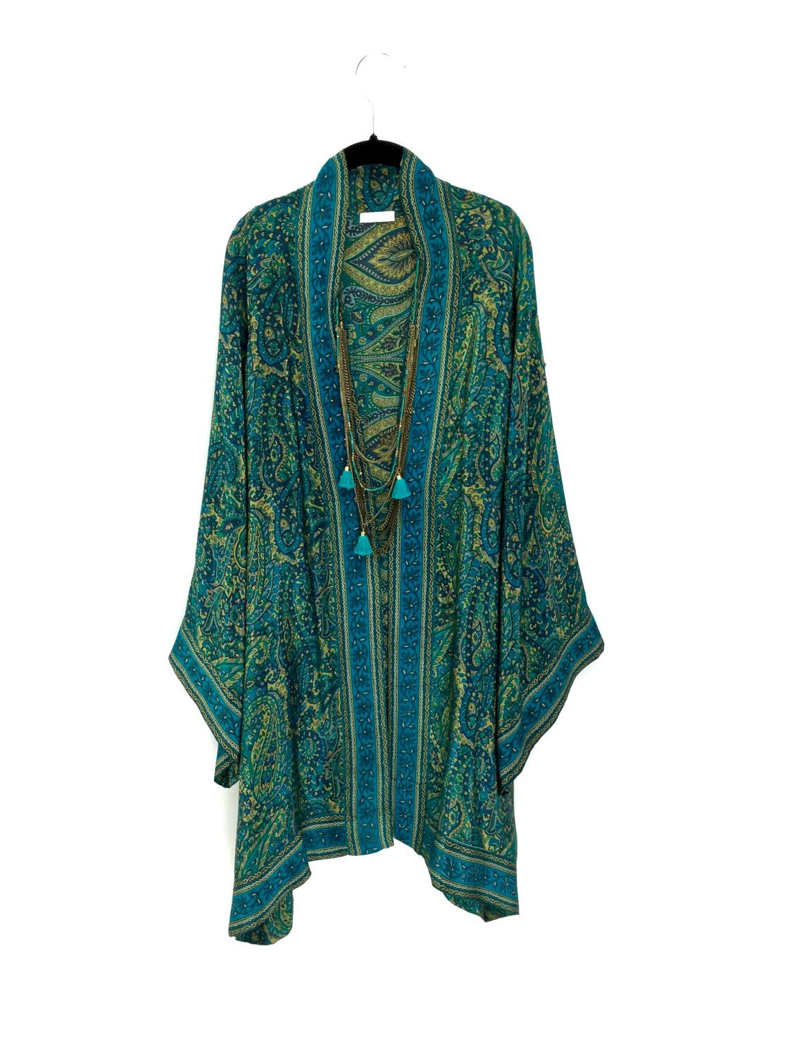 Silk long Kimono jacket / beach cover up with wide sleeves and ...