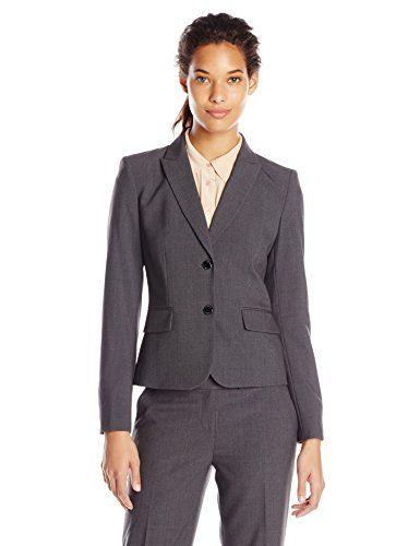 Calvin Klein Women's 2 Button Suit Jacket, Charcoal, 8 Calvin ...