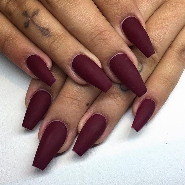Photo of Matte burgundy nails SHORT STONE