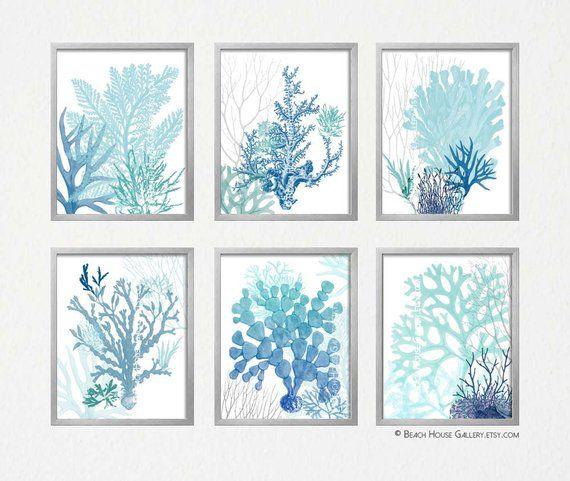 Set Of Six Coastal Algae Prints In Shades Navy Blue, Aqua
