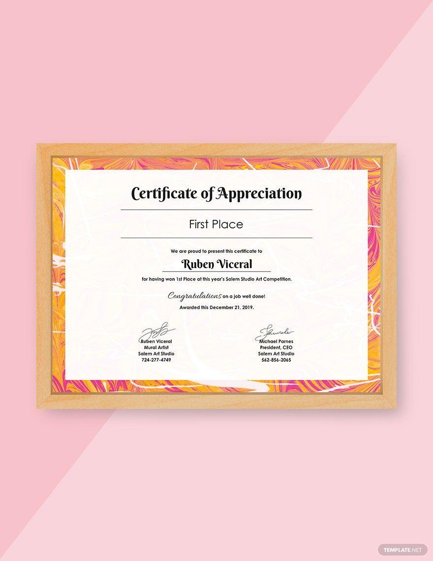 Free Appreciation Certificate Template in 2020 | Free certificate templates,  Certificate templates, Free printable certificate templates