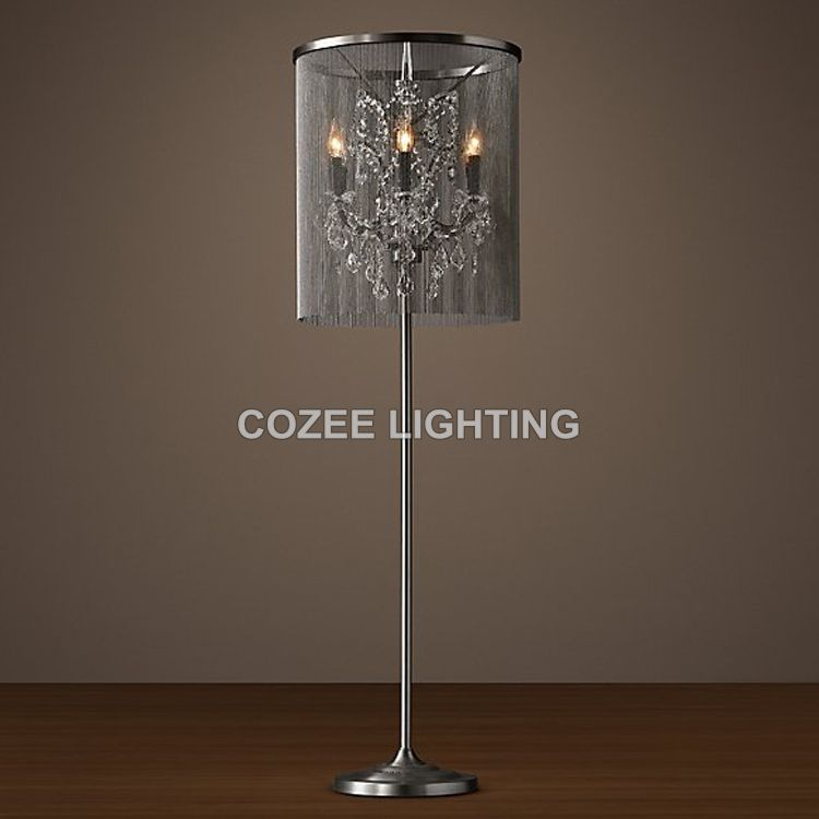 standing lights for living room organization vintage crystal floor lamp lighting aluminum chain light indoor home restaurant and