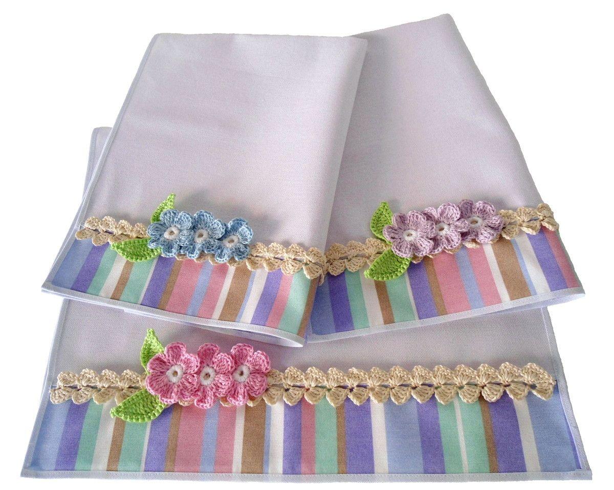 Artesanato Com Papel Origami Passo A Passo ~ Kit 2 Panos de Prato Frutas e Flores Pano de copa, Copa e Faixas