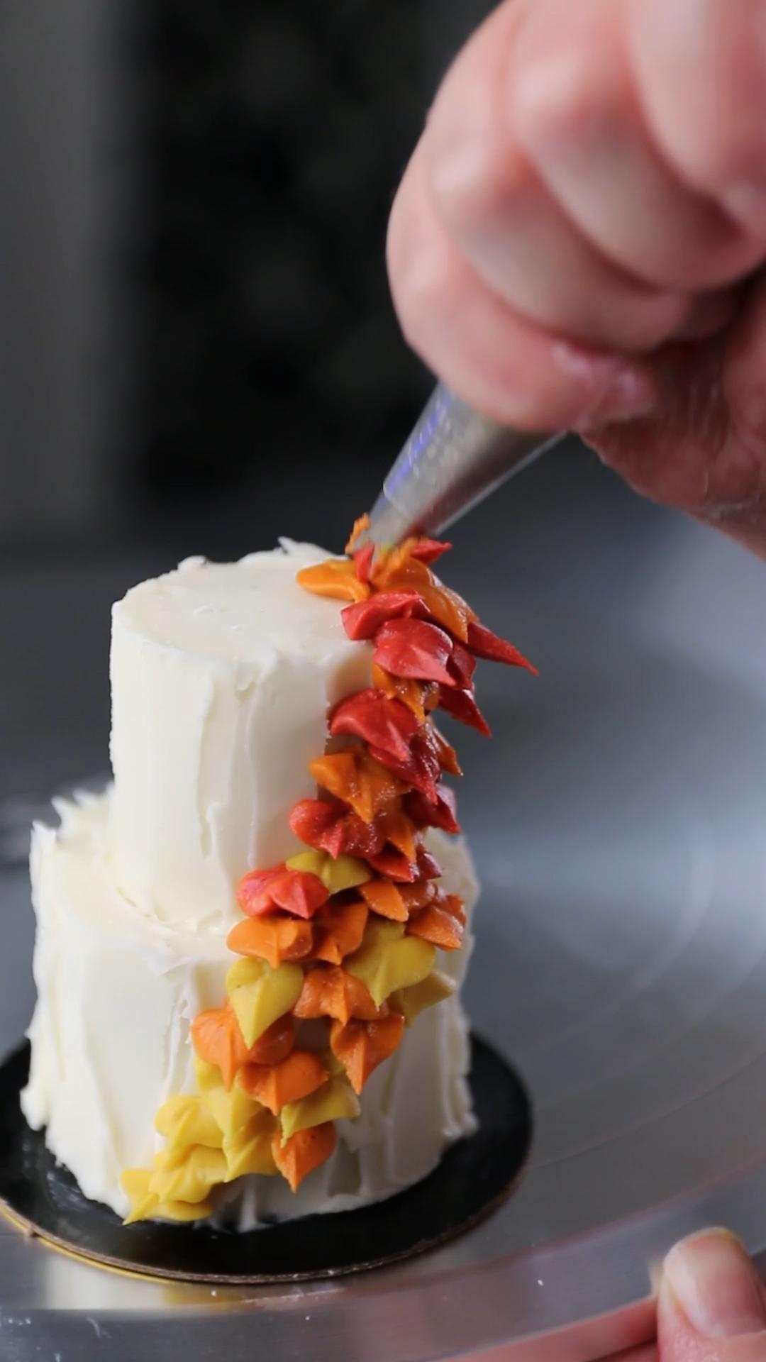 Fall leaves tiny wedding cake