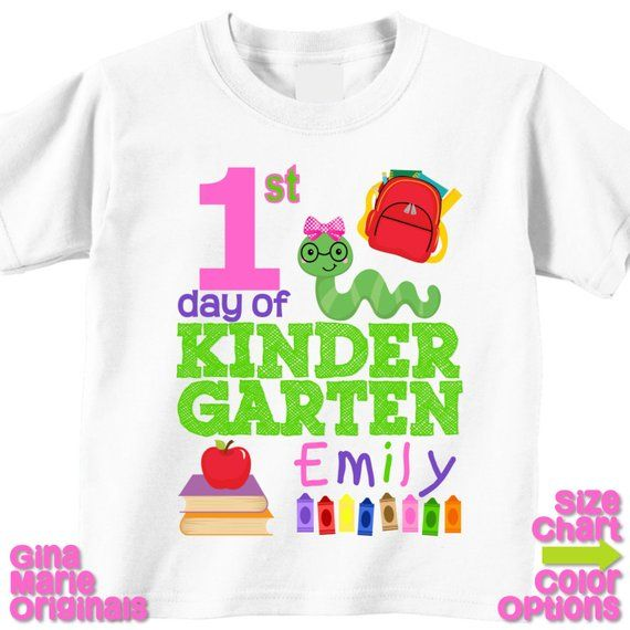 Personalized 1st First Day of Kindergarten Back to School Shirt T-shirt Girl Boy Kids Kindergarten School Tee First Day of School Outfit #firstdayofschooloutfits
