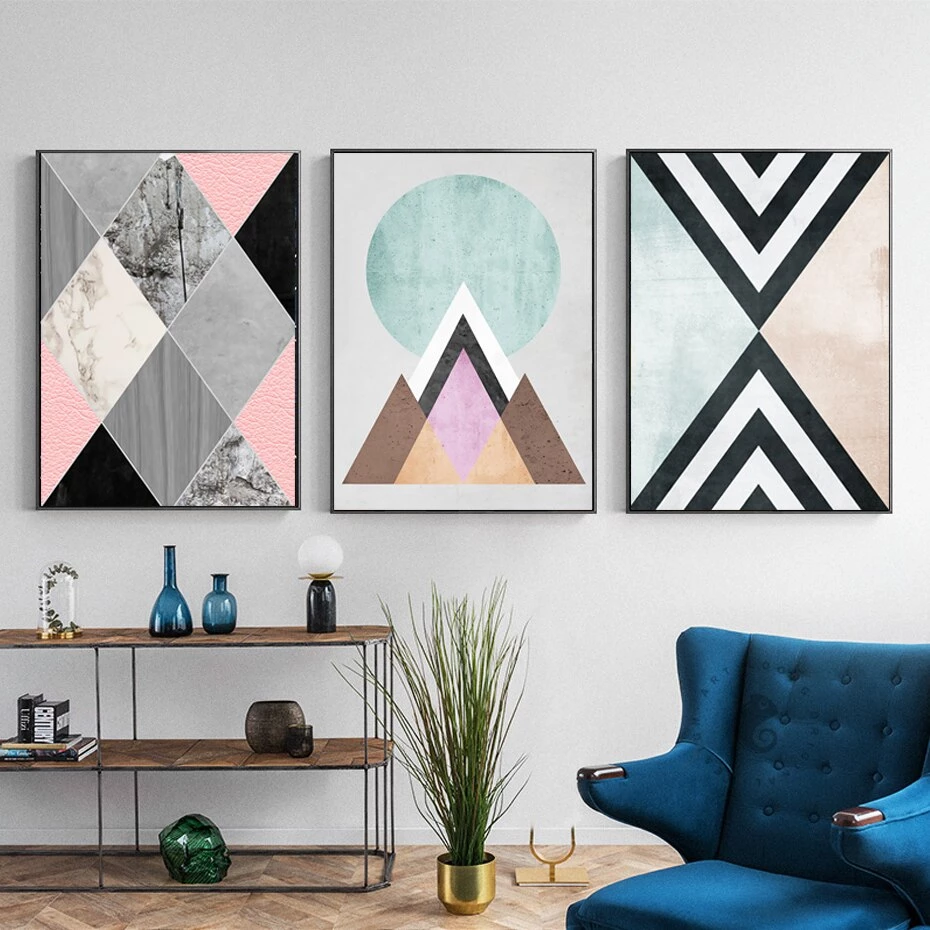 Colorful Modern Abstract Geometric Nordic Wall Art Fine Art Canvas Prints Nordicwallart Com Diy Canvas Wall Art Wall Art Living Room Geometric Wall Art