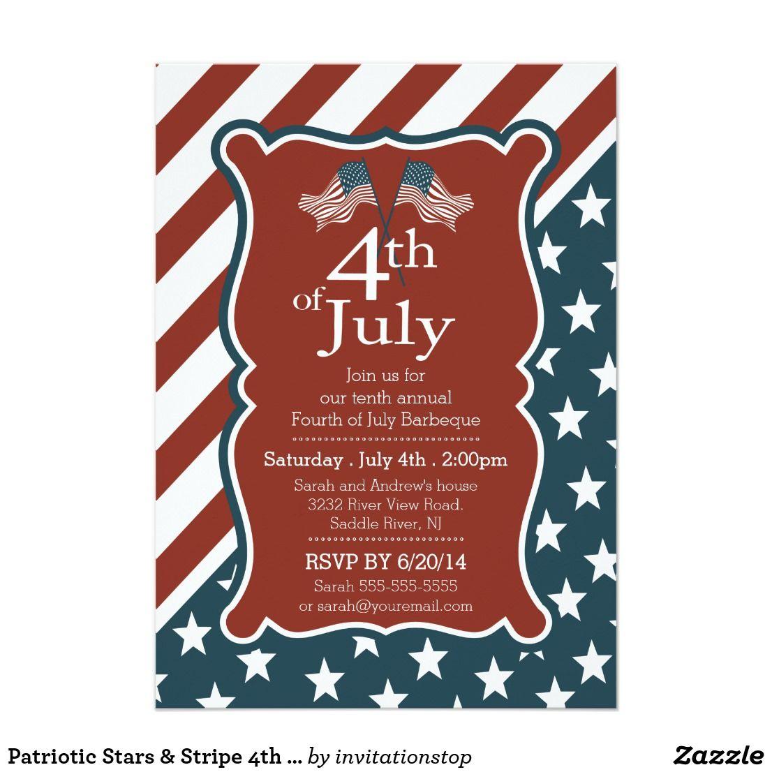 Patriotic Stars & Stripe 4th of July Party Invitation   Pinterest ...