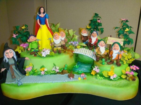 Blanca Nieves Y Los 7 Enanos Tv Movies Celebrity White Birthday Cakes Disney Cakes Snow White Cake