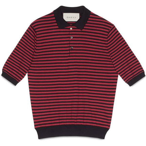 Gucci Striped Cotton Cashmere Polo ($395) ❤ liked on Polyvore featuring men's fashion, men's clothing, men's shirts, men's polos, men, ready to wear, gucci mens shirts, mens striped shirt, mens blue polo shirts and mens red shirt