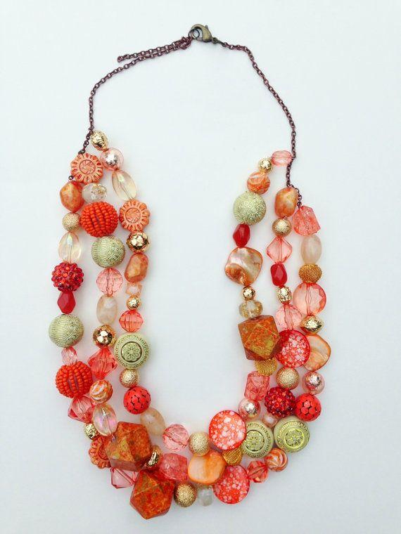 Handmade Three Strand Beaded Statement Necklace by UnbiasedHeart, $55.00