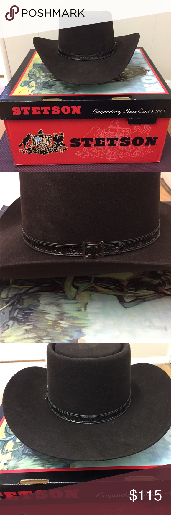 86e1b0e06ae Size 7 3 8. Like New!! This is a Stetson Revenger hat size 7 3 8. The hat  is XXXX buffalo hide. The color is a chocolate brown and in brand ...