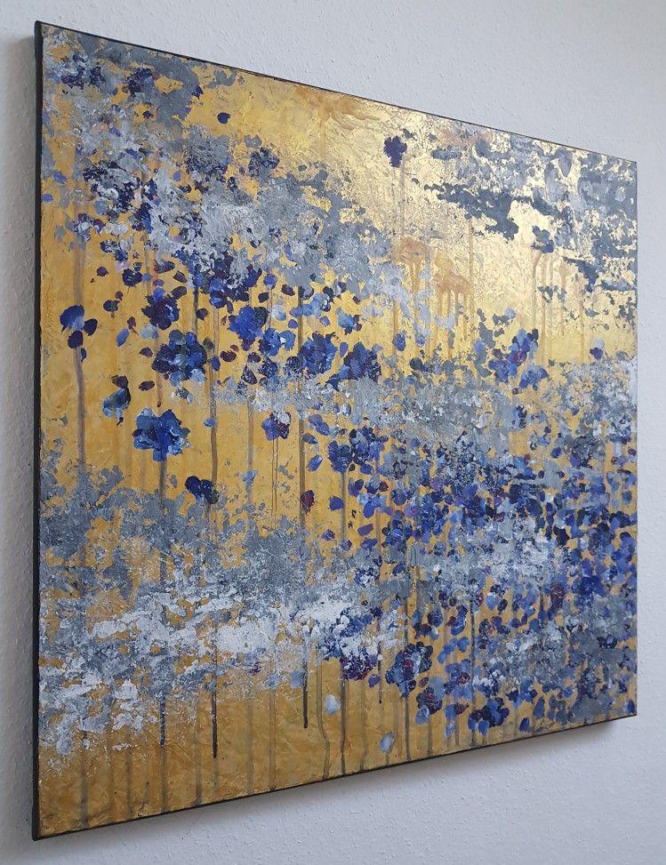 db flowers acrylic 60x60 malerei auf spachteltechnik gold acrylmalerei abstrakt abstrakte acryl abstraktes bild malen bilder in