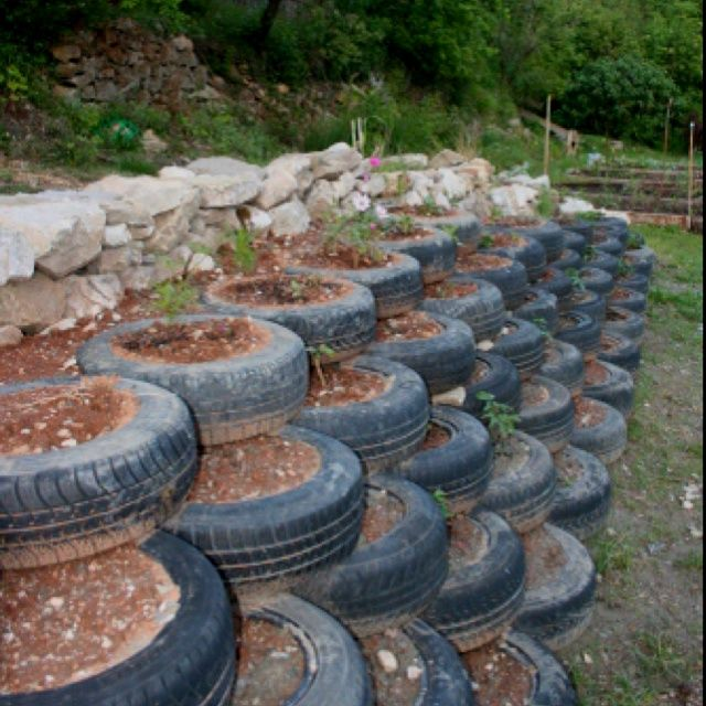 Landscaping ideas with old tires tires steps for the sloped part of my back yard - Garden ideas using tyres ...