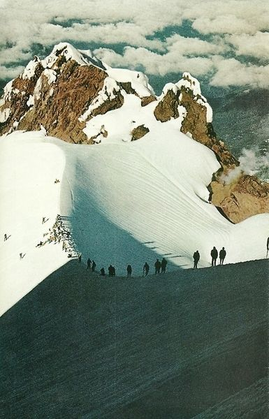Members of Portland Climbing Club toil up a hogback on the Southern route to the summit of Mount Hood in OregonNational Geographic | January...