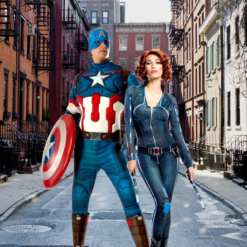 Who loves Avengers costumes? With just a few accessories, you and a friend can become the unstoppable Black Widow and Captain America! Don't forget to add Black Widow's red wig and some lethal boots, as well as Captain America's iconic star shield and gloves for an awesome look inspired by Avengers 2: Age of Ultron. Team up with the Hulk, Hawkeye, Thor, and Iron Man to become the Avengers for ultimate cosplay or Halloween fun.
