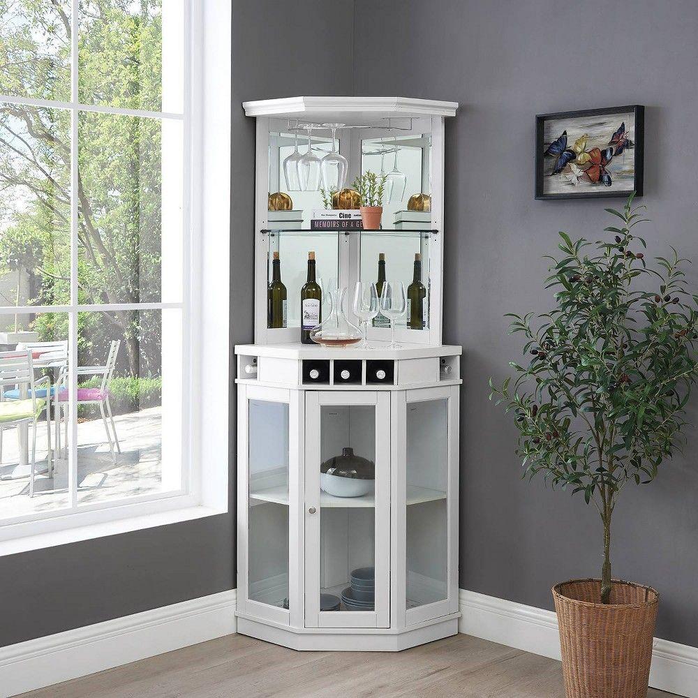 Corner Bar Unit With Glass Doors White Home Source Wine Storage Corner Bar Bar Furniture