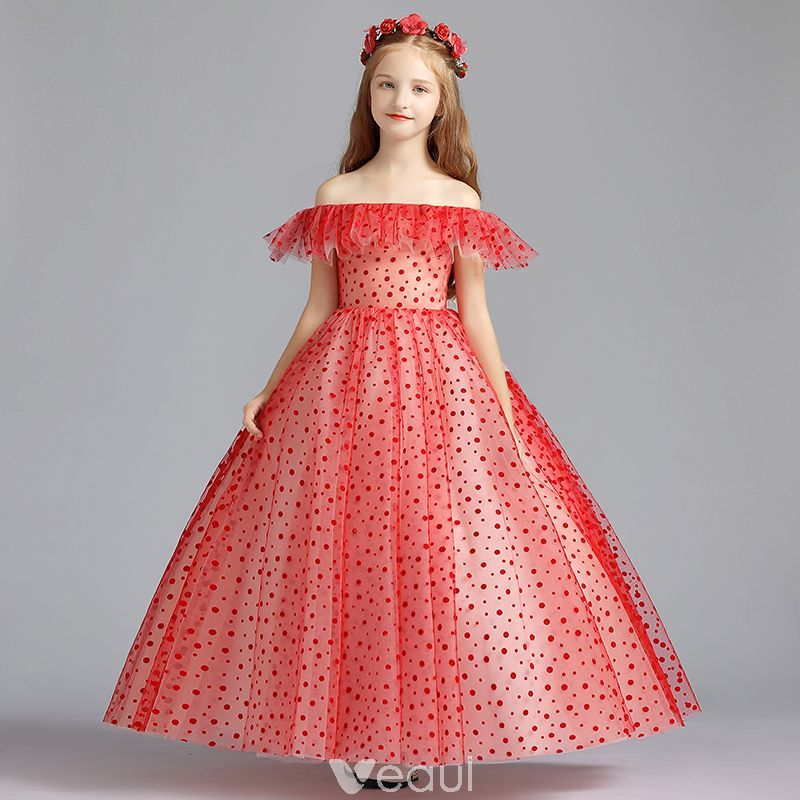 5aa7c6aba2b Lovely Red Flower Girl Dresses 2019 A-Line   Princess Off-The-Shoulder  Short Sleeve Spotted Tulle Floor-Length   Long Ruffle Backless Wedding  Party Dresses
